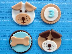Items similar to Edible Fondant Puppy Dog and Bone Boy Birthday Cupcake Toppers - Set of 12 on Etsy, Fondant Cupcakes, Fondant Dog, Puppy Cupcakes, Puppy Cake, Animal Cupcakes, Fondant Animals, Fondant Toppers, Cupcake Cakes, Doggie Cake