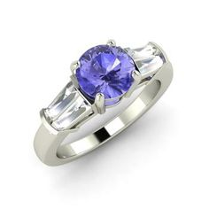 Round Tanzanite Ring in 14k White Gold with VS Diamond