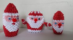 3D origami Santa Claus small by akvees on Etsy