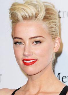 Amber Heard's bold red statement lip / La bouche pop rouge fluo d'Amber Heard