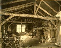 The Ranch House at Garzas Creek, Carmel in 1930 - original twig furniture & Native American decor remain