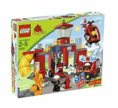 LEGO Duplo Legoville Fire Station (5601) by LEGO. $234.90. Three Duplo firemen figures and a dog. Fire vehicle with light and sound function. Includes helicopter, slide, fire extinguisher and fire flames. Contains 72 pieces. Two garages and drive through function. From the Manufacturer                There's a fire in Legoville.  Slide down from the roof to the fire truck, attach the accessories trailer and activate the working sirens as you rush off to the rescue. Once the f...