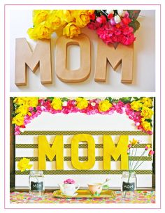 Mother's Day DIY Floral Prop - fun and sweet craft idea to use as a table decor or photo prop idea to take pics with mom for her special day. Mothers Day Decor, Mothers Day 2018, Mothers Day Brunch, Mothers Day Crafts, Happy Mothers Day, Fathers Day Gifts, Diy Father's Day Gifts Easy, Mother's Day Diy, Muffins For Mom