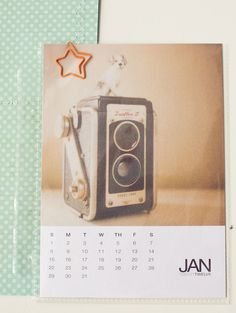 Monthly calendar card at start of each month.