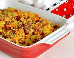 Farofa Farofa Recipe, Confort Food, Good Food, Yummy Food, Pasta, Exotic Food, Latin Food, My Favorite Food, Fried Rice