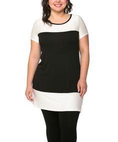 Another great find on #zulily! Black & White Color Block Tunic - Plus #zulilyfinds