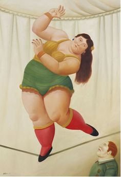 Fernando Botero :: Woman with Red Socks and Green Hot Pants on Tight Rope