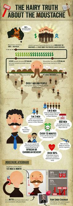 The Hairy Truth About The Moustache Infographic.  It's Movember time, trim your moustache to perfection or shave it back off. ~ http://ever-unfolding.net/best-beard-trimmer-reviews/