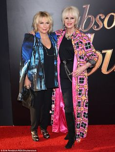 Glamorous looks: Joanna Lumley and Jennifer Saunders ensured they lived up to their legend as the arrived at the New York premiere of Absolutely Fabulous: The Movie on Monday