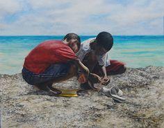 Cittin' Bait by Sheldon Saint Watercolor ~ 22-1/4 x 28