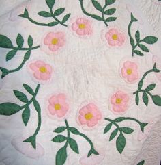 Still Pretty After All These Years - Pretty by Hand - Antique Quilt with Roses!  (I think they are wild roses too!