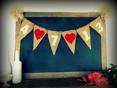 Save The Date Banner Triangle Burlap Pennant Flag Bunting Wedding / Engagement Photo Shoot Prop Bridal Shower Sign Garland Party by SweetThymes on Etsy https://www.etsy.com/listing/111530830/save-the-date-banner-triangle-burlap
