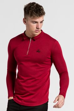 Best selling athletic fit long sleeve polo short with zip neck, embroidery, polo collar and stretch fit polo fabric. Polo Logo, Slim Fit Polo Shirts, Men With Street Style, Long Sleeve Polo, Men Looks, Ted, Streetwear, Menswear, Fancy