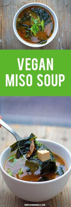 Vegan Miso Soup - Learn how to make the popular Japanese vegan miso soup recipe at home, step by step, in this recipe. #miso #tofu #japanese