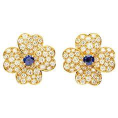 Van Cleef & Arpels Sapphire Diamond Gold Cosmos Earrings 1