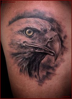 For millennia the eagle has represented empires as a logo of formidability, prowess, and crafty. Common in continental European heraldry we see the eagle represented on numerous nationwide flags and coats of arms. Bald Eagle Tattoos, Eagle Head Tattoo, Hawk Tattoo, Black And Grey Tattoos Sleeve, Black Tattoos, Body Art Tattoos, Bird Tattoos, Shoulder Sleeve Tattoos, Shoulder Armor Tattoo