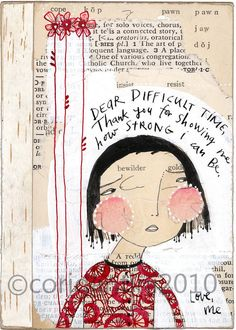 folk art painting - watercolor - ink - portrait - Dear Difficult time - an archival limited edition print by cori dantini