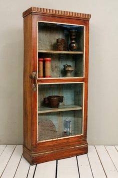Vintage Indian Teak Wood Hanging or Standing Warm Industrial Farm Chic Glass Curio Storage Bathroom Cabinet on Etsy, $389.00