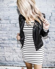 white & black long sleeve dress Small - Shirt Casuals - Ideas of Shirt Casual - black and white striped long sleeve dress by emmer & oat fall fashion stripes leather jacket black simple elegant casual style beauty Trendy Dresses, Nice Dresses, Casual Dresses, Casual Outfits, Fall Dresses, Moda Rock, Girls Summer Outfits, Cute Outfits For Fall, Night Outfits