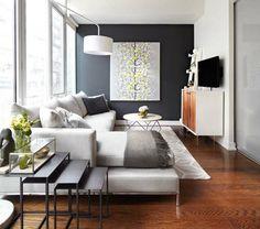 kleines wohnzimmer einrichten akzentwand wohnmbel retro stil - Wohnzimmer Lang Schmal