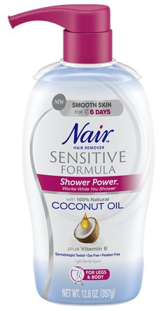 Nair Nair Shower Power Sensitive Formula Hair Removal Cream with Coconut Oil and Vitamin E Permanent Facial Hair Removal, Back Hair Removal, Underarm Hair Removal, Remove Unwanted Facial Hair, Hair Removal Diy, Unwanted Hair, Best Hair Removal Cream, Cellulite Wrap, Anti Cellulite