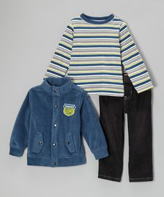 Another great find on #zulily! Blue Stripe Long-Sleeve Tee Set - Infant, Toddler & Boys #zulilyfinds