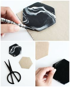 DIY Marble Hexagon Coasters 2019 DIY Marble Hexagon Coasters The post DIY Marble Hexagon Coasters 2019 appeared first on Clay ideas. Polymer Clay Crafts, Diy Clay, Polymer Clay Earrings, Diy Earrings, How To Make Coasters, Diy Coasters, Marble Coasters, Diy Marble, Black Marble
