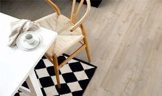 Pergo New England Oak, plank Laminate Pergo Laminate, Wishbone Chair, Plank, New England, Kitchen Ideas, Interior, Modern, Furniture, Home Decor
