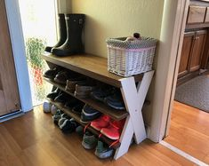 Products Shoe bench Selecting The Perfect Baby Furniture For Your Nursery Article Body: The first th Wood Shoe Rack, Shoe Rack Bench, Diy Shoe Rack, Corner Storage, Bench With Shoe Storage, Storage Spaces, Storage Ideas, Furniture Ads, Wooden Furniture