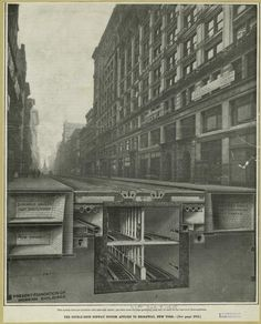 """A print captioned: """"The Double-Deck Subway System Applied To Broadway, New York City"""", c.1905. ~ {cwl} ~ (Image: NYPL)"""