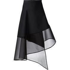 David Koma sheer hem A-line wrap skirt (2.376.675 COP) ❤ liked on Polyvore featuring skirts, black, black skirt, black wrap skirt, david koma, black knee length skirt and a line wrap skirt