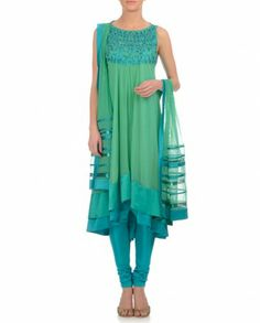 Mint Green Anarkali Suit with Sequins & Beads