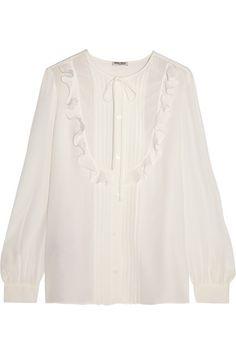 MIU MIU Ruffled Silk Crepe De Chine Blouse. #miumiu #cloth #tops