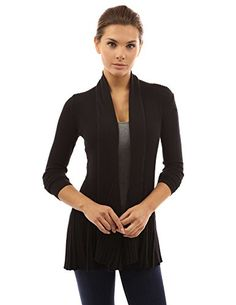 PattyBoutik Womens Drape Collar Ruffle Hem Cardigan Black XL -- Details can be found by clicking on the image.