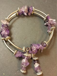 Check out this item in my Etsy shop https://www.etsy.com/listing/470428365/free-ship-silver-purple-amethyst-2-loops