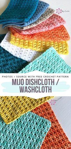 Knitted Washcloths, Knit Dishcloth, Crochet Gratis, Free Crochet, Kids Crochet, Crochet Minecraft, Knitting Patterns, Crochet Patterns, Knit Washcloth Patterns