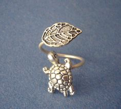 Silver turtle ring with a leaf adjustable ring animal ring | Etsy