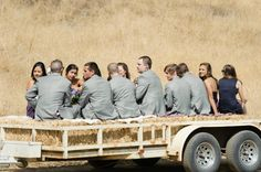 Tractor pulled flatbed hay ride from parking to ceremony location! =)