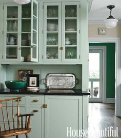 Mint kitchen cabinets // 5 Fresh Kitchen Paint Colors -- One Kings Lane Homey Kitchen, Farmhouse Style Kitchen, Old Kitchen, Green Kitchen, Farmhouse Kitchens, Kitchen Decor, Farmhouse Cabinets, Kitchen Tips, Fresh Farmhouse