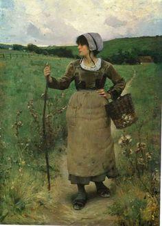 """ A travers les champs, c. 1884 ""  Charles Sprague-Pearce - (1851-1914)"