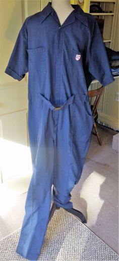 fbe34bf67a VTG Men s Coveralls Jumpsuit One Pc~Size 42 44 Tall Long~Navy Blue Work~Mechanic