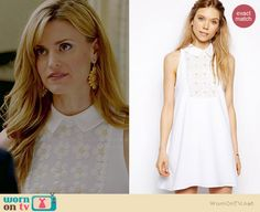 Paige's white collared daisy dress on Royal Pains.  Outfit Details: http://wornontv.net/36460/ #RoyalPains