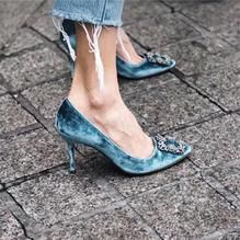 Rhinestone Mid Heel Pump Shoes(Velvet)