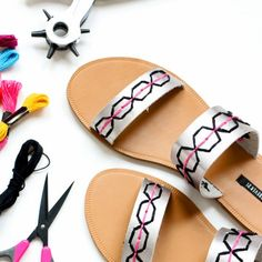 All you need to make over a pair of Summer sandals is a leather punch and some pretty embroidery floss!