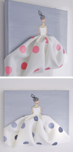 Little Princess in Polkadots - hand painted canvas, pink nursery, nursery…