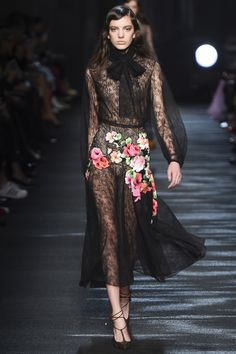 1ed4b94c3bf Blumarine fall 2016 RTW Date  Note  Colorful flowers and roses appliqué  attached to the black lace dress.