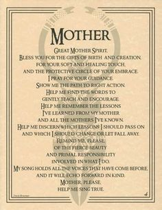 Great Mother Spirit Evocation Parchment Book of Shadows Page or Poster!