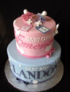 Pink and blue baby shower cake will both of the possible names depending on the sex..or for twins, a boy and a girl.