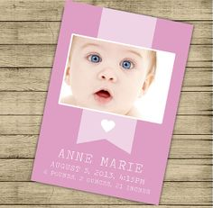 Baby announcement printable  Custom color text and by ByYolanda, €11.00