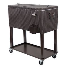 UPHA 80 Quart Rolling Cooler Cart Outdoor Patio Party Cooling Bin with ShelfBrown Wicker Pattern -- More info could be found at the image url.
